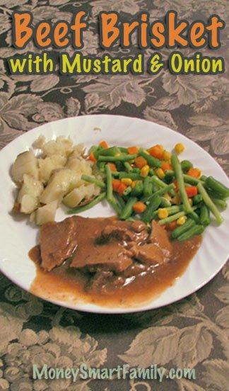 Beef Brisket Recipe with Mustard & Onion/ Beef Brisket cooked in Crockpot/ Tender Beef Brisket in Slow Cooker #BeefBrisketMustardOnionGravy #BeefBrisketCrockpot
