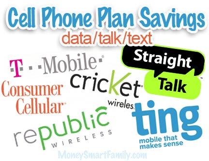 Logos of various cell phone providers who offer discounted cell phone plans.