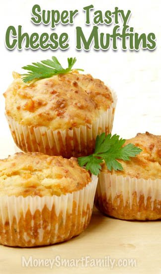 Tasty Cheese Muffin Recipe, so easy to make. Cheddar & Parmesan Goodness that melts in your mouth. #CheeseMuffins #CheddarMuffins #ParmesianMuffins