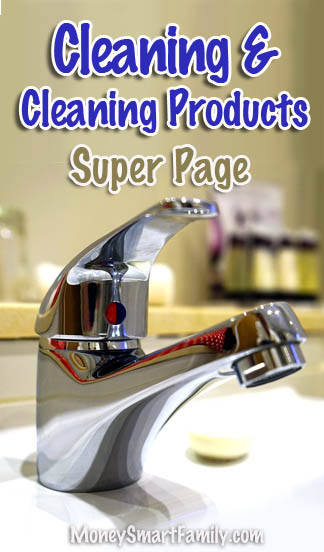 Cleaning and Cleaning Products Super page - faucet on a white sink.