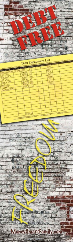 Debt Repayment List Free Form download
