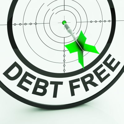 A dart board with the words Debt Free on the bottom.