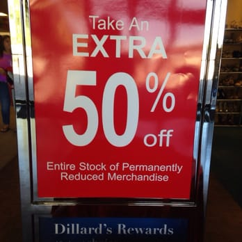 Dillard's reduced sale sign - 50 percent off.