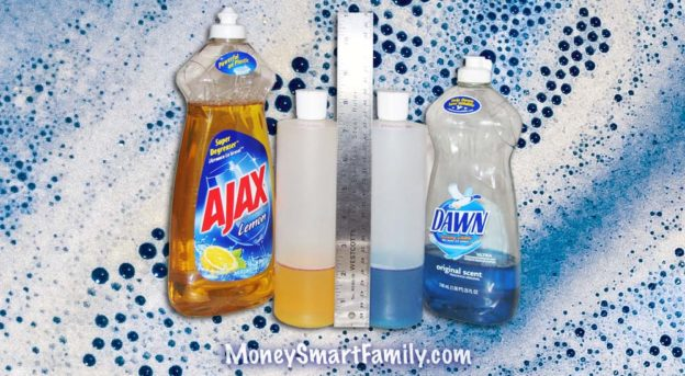 Two bottles of dish soap with a ruler in front of them - Dish Soap Testing