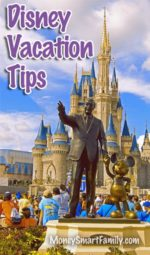 Disney Vacation Tips - Walt Disney and Mickey Mouse standing in front of Sleep Beauty's castle.