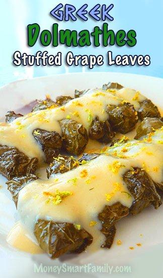 Greek Dolmathes - Grape Leaves with Egg Lemon Sauce #GreeKDolmathes #GreekDolmades #StuffedGrapeLeaves #GrapeLeaves #AvgolemonoSauce #GreekEggLemonSauce