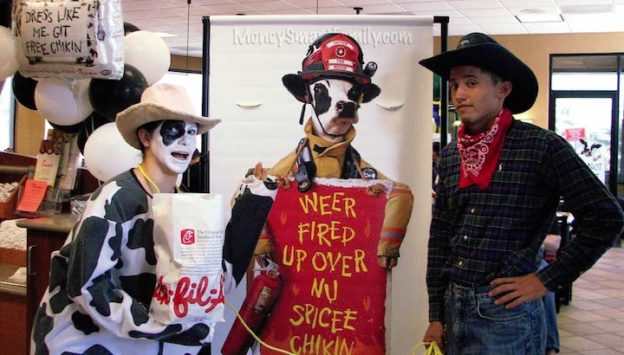 Cow Appreciation Day at Chick-fil-A Abbey & Joe Economides got a free meal.