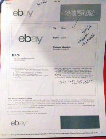 A Swagbucks eBay eGift Certificate.