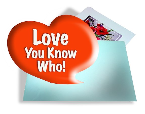 A greeting card envelope with a large heart floating over it.
