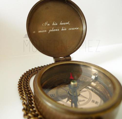 Etsy personalized and engraved antique compass as a retirement gift.