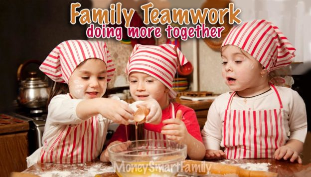 Family Teamwork - working together - sisters baking