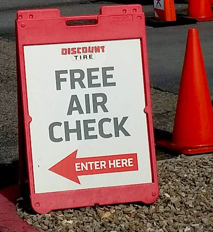 Discount Tire Free Air Check Sign for car tires.