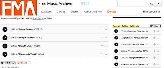 Free Music Archive screenshot