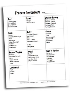 Freezer Inventory Worksheet
