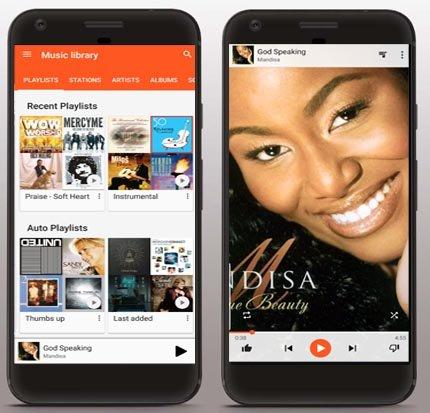 Google Play Music app screen shots
