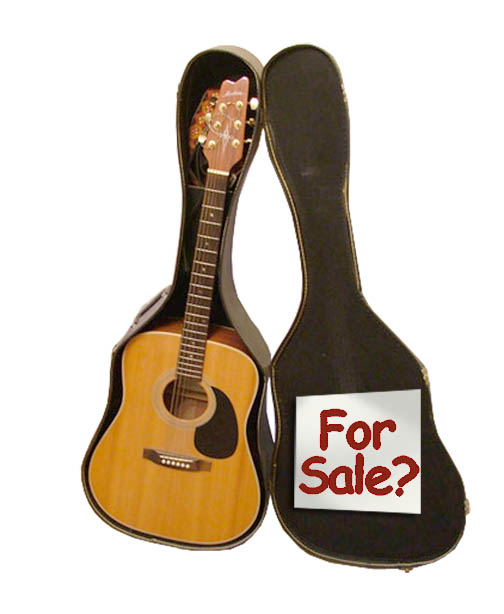 An acoustic guitar in a case with a for sale sign on it.