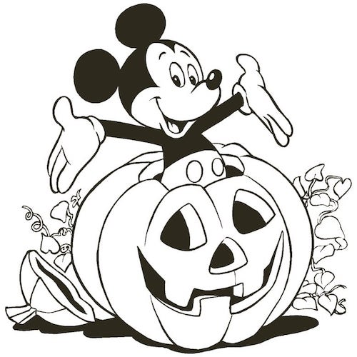 Halloween party coloring page with Mickey Mouse coming out of a pumpkin.