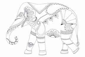 Millie Marotta Elephant free coloring pages.
