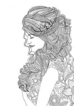 Pixabay coloring page image of a woman with long hair.