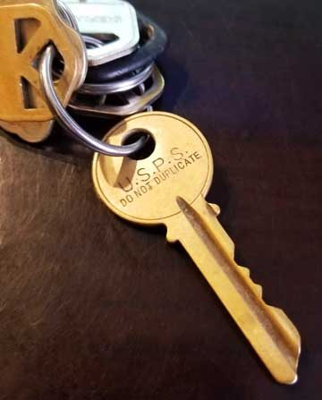 USPS Do Not Duplicate Key on a keyring.