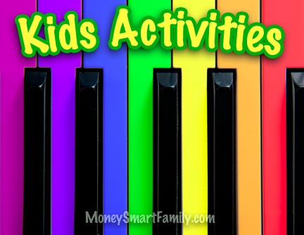 Colorful piano keys and fun activities for kids.