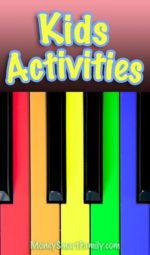 Colorful piano keys for fun kids activities.