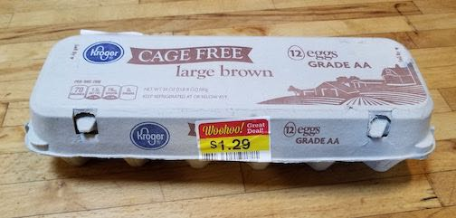Cage Free Eggs from Kroger steeply discounted. #OrganicFoodONABudget