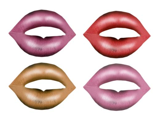 4 sets of lips with different colored lipstick on them.