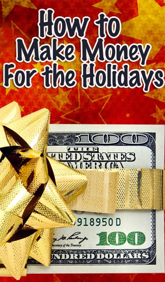 How to make money for the holidays - pile of money with a golden bow.