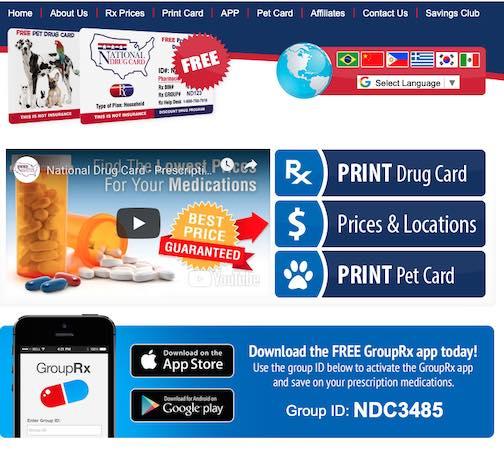 National Drug Card Sign Up Page.