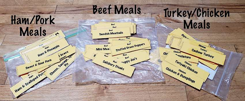 Once A Month Cooking meal name cards laminated.