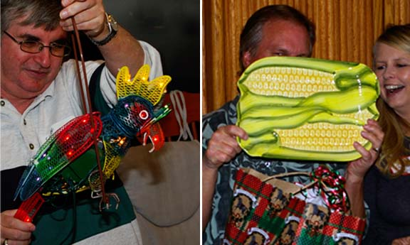 Robot parrot and corn plate white elephant gifts.