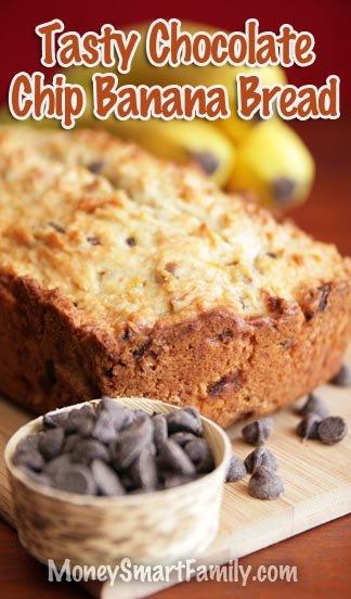 A Tasty Chocolate Chip Banana Bread Recipe #BananaBread #ChocolateChipBananaBread #EasyBreadRecipe