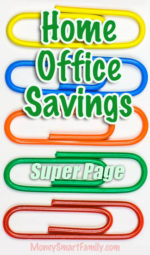 A super page full of home office savings tips on colorful paperclips and more.