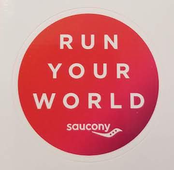 A free sticker we received by mail from Saucony running shoes.
