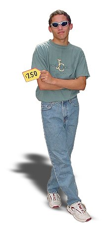"""Joe Economides holding a price tag and dressed in thrift store clothes with a shirt that says """"Joe Cool."""""""