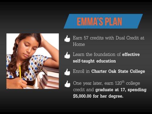 Emma's college dual credit study plan.
