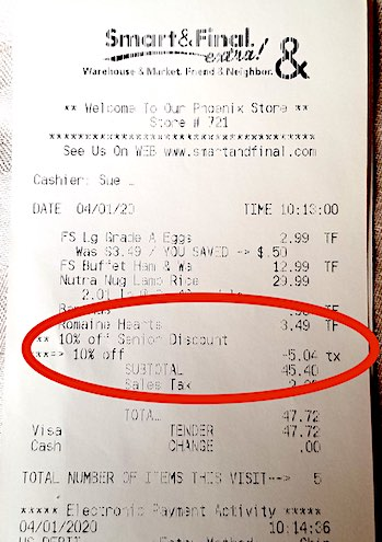 Smart & Final Grocery Bill with a Senior Discount