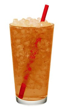 Sonic Iced tea in a glass with a red straw.