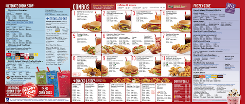 Sonic Menu and Happy Hour Information