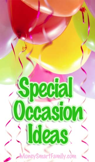 Money-Saving ideas for Special Occasions - with balloons and streamers.