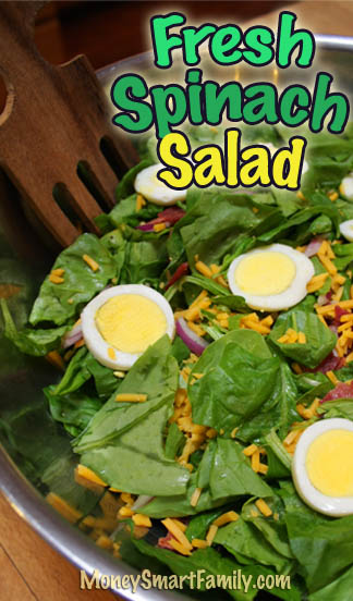 Fresh Spinach Salad - a delicious summer healthy meal or side dish!. #FreshSpinachSalad #MainDishSpinachSalad