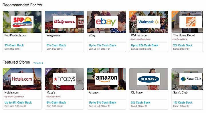 Swagbucks shoping page.