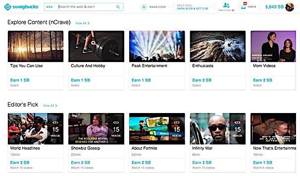 Swagbucks watch videos and earn.