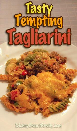 Tagliarini - ground beef, pasta and cheese - tasty and tempting dinner. #TagliariniBeef #TagliariniBeefPastaCheese #TagliariniBeefTomatoesPasta
