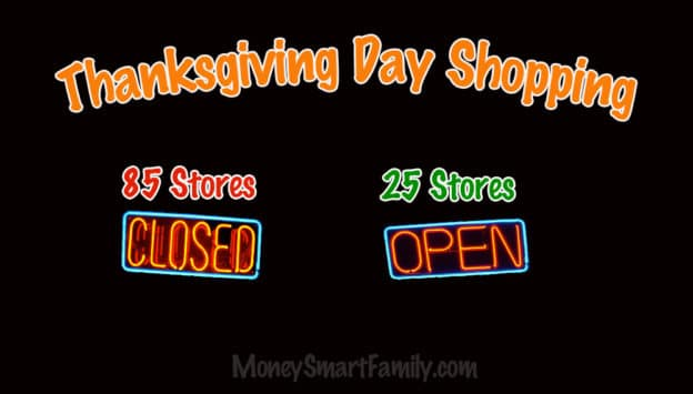 Thanksgiving Day Shopping Stores open and closed.