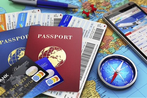 Passport and travel reward cards.