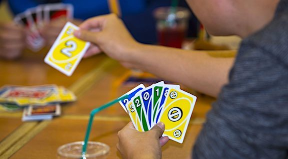 Uno card game being played on game night.