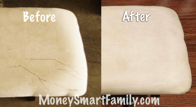 Before and after picture if ink stains on upholstery