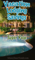 Vacation lodging / hotel savings super page with a hotel pool.